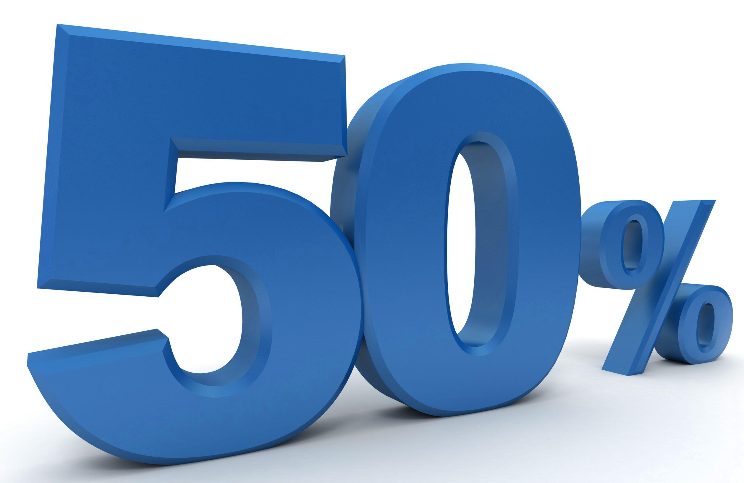 50% in blue